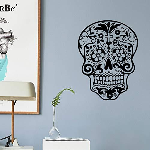Wall Sticker ZOZOSO Religious Skull Head Halloween Decoration Background Wall Sticker Waterproof Removable -