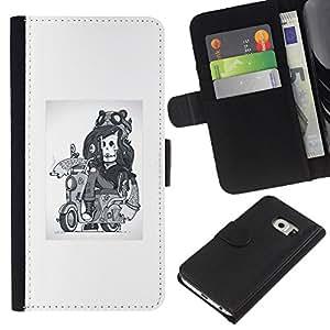 YiPhone /// Tirón de la caja Cartera de cuero con ranuras para tarjetas - Abstract Girl esquelético del motorista - Samsung Galaxy S6 EDGE