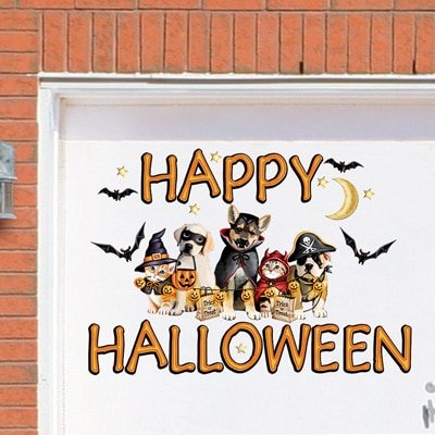 Spooky Festive Halloween Scene Removable Decal Haunted House Prop Garage Door Magnet (Dogs) (Gory Halloween Dishes)