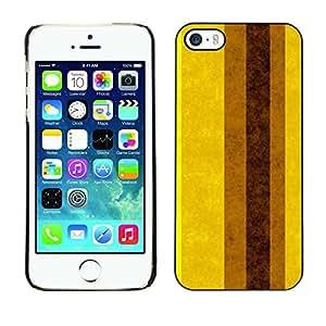 FECELL CITY // Duro Aluminio Pegatina PC Caso decorativo Funda Carcasa de Protección para Apple Iphone 5 / 5S // Pastel Brown Yellow Vertical Mustard
