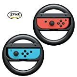 ELM Game Joy-Con Wheel for Nintendo Switch (2 Pack), Steering Wheel Accessory Attachment, Wheel Grip for Use With Nintendo Switch Joy-Con Controllers (Black 2 Pack) For Sale