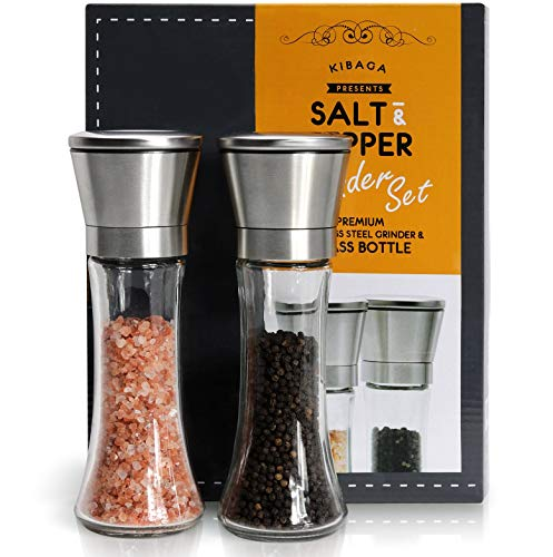 Elegant Salt And Pepper Grinder Set Of 2 - Premium Stainless Steel Pepper Grinder - Enjoy Your Favorite Spices, Fresh Ground Pepper, Himalayan Or Sea Salts by KIBAGA