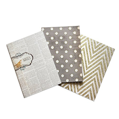 My Mind's Eye Vintage Style Notebooks, 3 Designs, Newspaper Print, Brown, and Gold