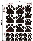 YideaHome ステッカー 肉球 足跡 動物 犬 猫 足型 マーク シール デカール 約38cm×約28cm ブラック
