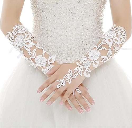 WDING Long Fingerless Rhinestone Beaded Lace Bridal Gloves for Formal Wedding Prom Party