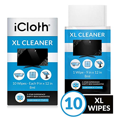 iCloth Extra Large Monitor and TV Screen Cleaner Pro-Grade Individually Wrapped Wet Wipes, 1 Wipe Cleans Several Flat Screen TV