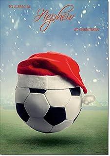 e00b31fd39f46 Doodlecards Nephew Christmas Card Football with Santa Hat - Medium Size