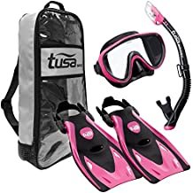 TUSA Sport Adult Black Series Serene Mask, Dry Snorkel, and Fin Travel Set