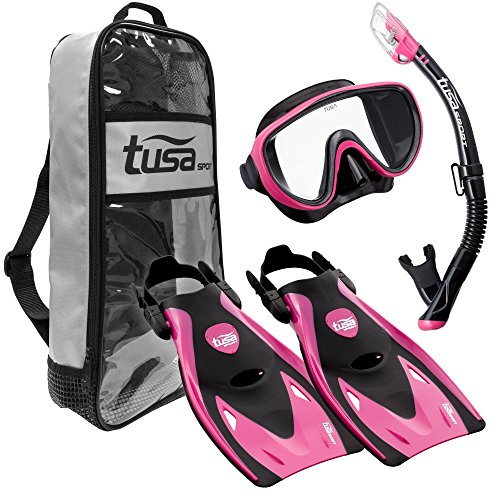 - TUSA Sport Adult Black Series Serene Mask, Dry Snorkel, and Fins Travel Set, Black/Hot Pink, Small