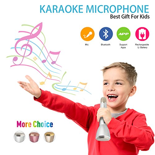 Microphone for Kids, Wireless Microphone Karaoke, Portable Bluetooth Microphone with Speaker, Karaoke Mic, Singing Machine for Home Singing Support Iphone Ipad Android Smartphones Computer(Silver)