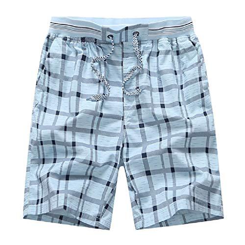 Youngh Men's Casual Classic Fit Short Summer Beach Shorts Mens Military Camo Work Running Sports Cargo Pants Shorts (XXXXL, Sky Blue)