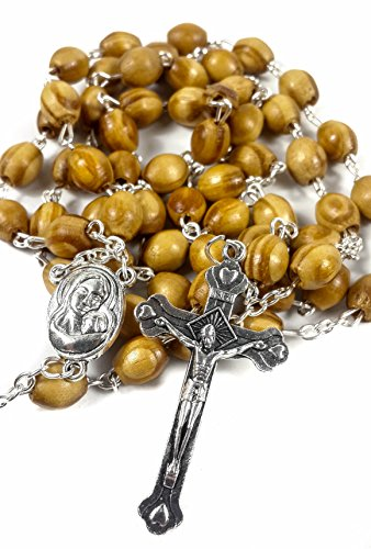 Rosary Necklace With Holly Land Soil Metal Devout Cross Olive Brown Beads Chain … ()