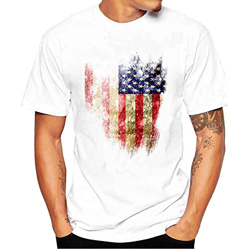 HGWXX7 Men's Plus Size American Flag Print Short Sleeve Cotton Tees Tops T-Shirt (S, White-3)
