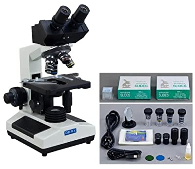 OMAX 40X-2000X Digital Binocular Biological Compound Microscope with Built-in 3.0MP USB Camera and Double Layer Mechanical Stage and 100 Pieces Glass Slides and Covers from OMAX