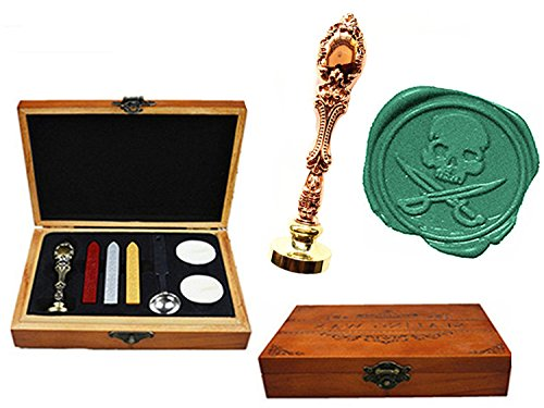 MNYR Vintage Skull Cross Sword Halloween Decorative Luxury Wood Box Rose Gold Metal Peacock Wedding Invitations Gift Cards Stationary Envelope Custom Wax Seal Sealing Stamp Stick Melting Spoon Box Set