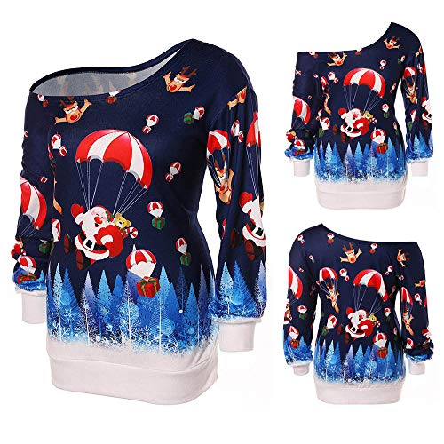 Womens Christmas Hoodie Duseedik Print Shoulder Sweatshirt Long Sleeve Strapless Pullover Tops Blouse for $<!--$5.21-->