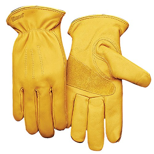 KINCO 198-L Men's Unlined Premium Grain Cowhide Gloves, Large, Golden