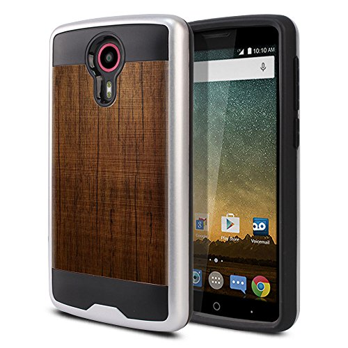 FINCIBO Case Compatible with ZTE N817 Quest Uhura, Dual Layer Brushed Hybrid Hard Protector Case Cover Anti Shock TPU for Quest Uhura - Red Brown Wood