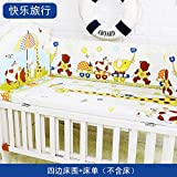 Best Quality - Bedding Sets - 5Pcs Cotton Baby Cot Bedding Set Newborn Cartoon Baby Crib Bedding Set Detachable Cot Bed Linen 4 Bed Bumpers+1 Sheet 7 Sizes - by Panathlatic - 1 PCs