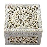 Hashcart Indian Artisan, Handmade & Handcrafted Stone Jewelry Box/Jewelry Storage Organizer/Trinket Jewelry Box/Gift Box with Traditional Design