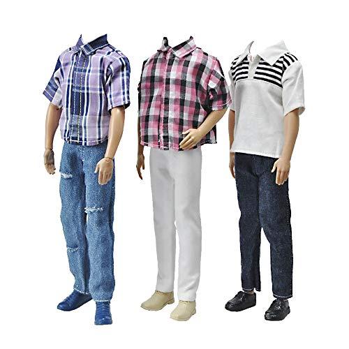 E-TING3 세트 캐주얼웨어 격자 무늬 인형 의류 자켓 바지 복장 12 인치 소년 인형