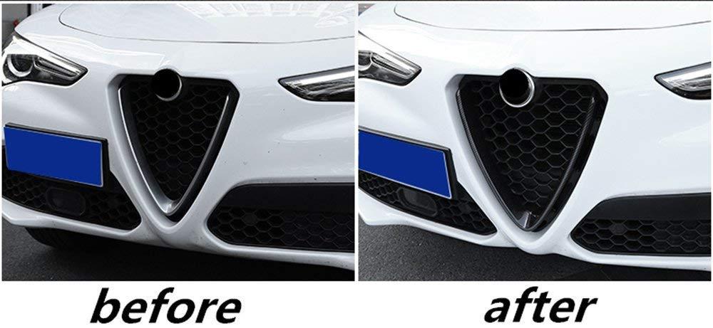 ABS Carbon Fiber Front Grilles Kidney Face Net Decoration Frame Cover Trim for Alfa Romeo Stelvio 2017 NOT for stelvio 2018 quadrafoglio Autobro