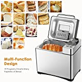 Automatic Bread Maker[2018 Upgraded], Aicok 2.2LB Fully Stainless Steel Bread Machine with Dispenser(19 Programs, 3 Loaf Sizes, 3 Crust Colors, 15-Hour Delay Timer, 1H Keep Warm, Gluten Free Setting)