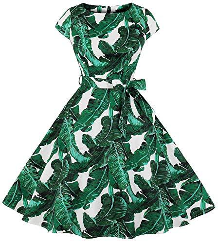 Leaf Green Cotton Spandex - Womens 1950s Vintage Cap Sleeve Polka Dot Rockabilly Swing Dresses C70 (Green Leaves, XXL)