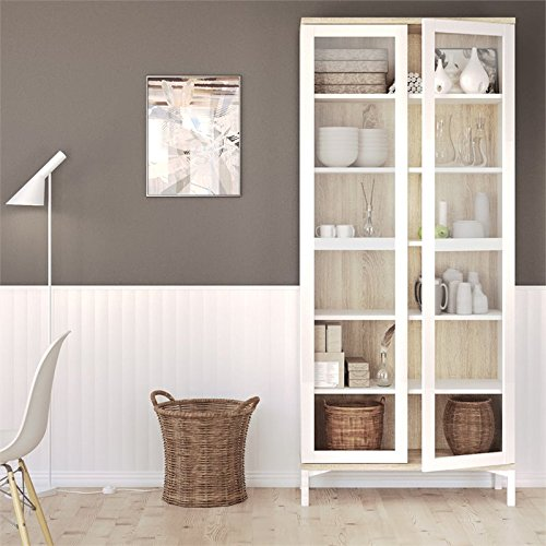 Tvilum 9217649ak Aberdeen 2 Door China Cabinet, White/Oak Structure