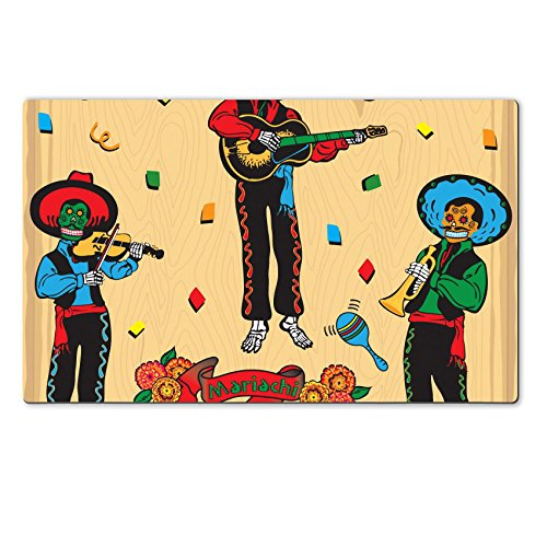 [MSD Natural Rubber Large Table Mat IMAGE ID: 6609204 Colorful Day of the Dead Mariachi Band with banner and flowers on a faded wood] (Dia De Los Muertos Mariachi Costume)