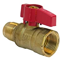 LASCO 10-1621 Straight Gas Ball Valve with 15/16-Inch Flare and 3/4-Inch Female Pipe Inlet, Brass