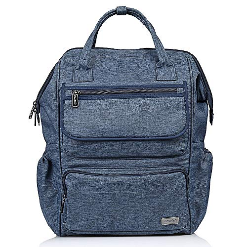 LEMESO Wide Opening Mouth Backpack, Large Capacity School Bag with Multi-Functional Pockets for Women Men Students Laptop from Son Blue