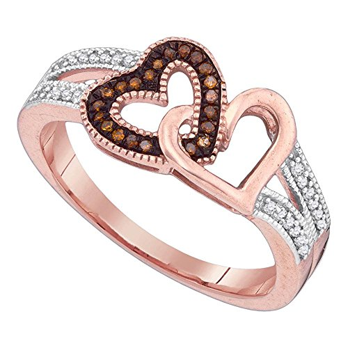 Red Diamond Two Hearts Ring Solid 10k Rose Gold Love Band Fashion Style Polished Finish Fancy 1/6 ctw by GemApex