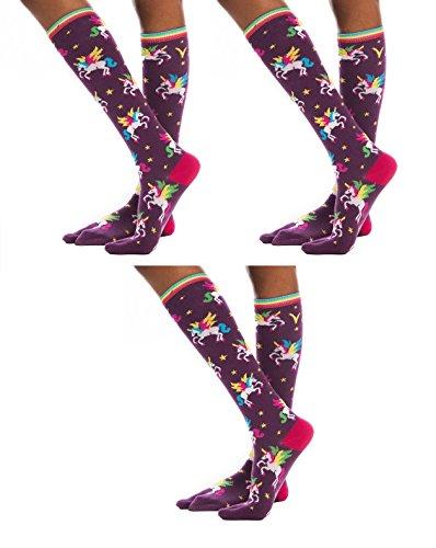 ea827ef03 Galleon - 3 Pairs V-Toe Unicorn Flip-Flop Socks Tabi Two Toe Style Fun  Casual Girls Women Socks