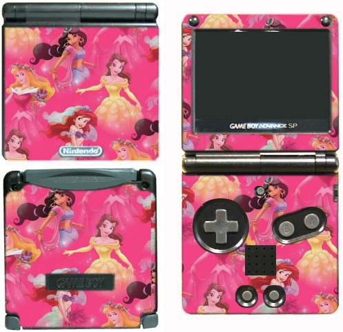 (Princess Friends Ariel Cinderella Belle Jasmine Dance Pink Video Game Vinyl Decal Skin Sticker Cover for Nintendo GBA SP Gameboy Advance System)