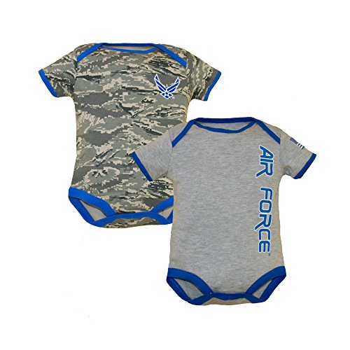 - U.S.A.F. 2pk Baby Boys Air Force Bodysuits Blue Gray 6-9 Months