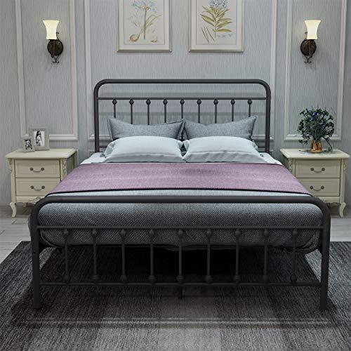 DUMEE Metal Bed Frame Queen Size Platform with Vintage Headboard and Footboard Sturdy Metal Frame Premium Steel Slat Support Textured Black