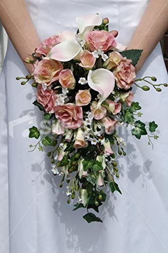 REAL TOUCH PINK LILY IVORY ROSES BRIDESMAIDS BOUQUET