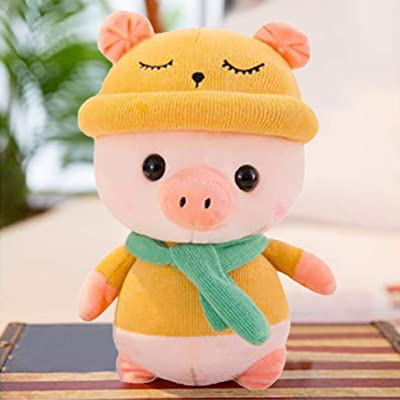 Lifelike Baby Piggy Stuffed Animal Toy with Hat, Piglet Plush Pillow for Kids The Pig Plush Toy Cushion Toys Gift for Baby Boys Girls Pig Doll: Toys & Games