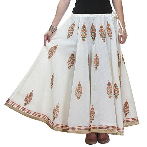 Hand Skirt Printed Women's Long white Block freesize Chanderi 5w1zRqH