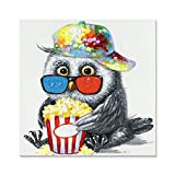 JAPO ART Animal Adorable Owl Eats Popcorn 100% Hand Painted Oil Painting with Stretched Frame Wall Art for home decor 24 x 24 Inch