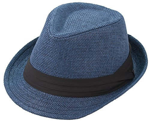 Milani Solid Classic Fedora Straw Hat with Black Ribbon Band