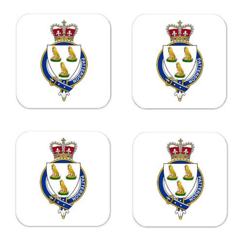 Patterson Scotland Family Crest Square Coasters Coat of Arms