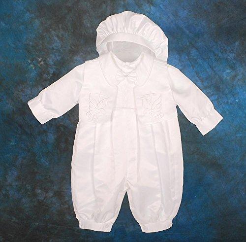 Lito Angels - Pagliaccetto per battesimo/battesimo ricamato in raso, con cappello, taglia 0-18 mesi ST007 2
