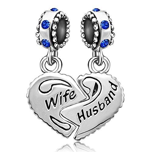 JMQJewelry Wife Love Heart Birthstone September Husband Charms Family Dangel Beads For Bracelet
