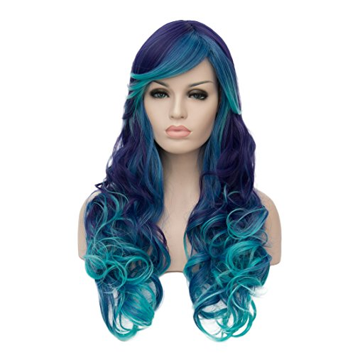 Alacos Fashion Long Curly Colorful Side Parting Bangs Synthetic Heat Resistant Daily Cosplay Wigs for Women + Wig Cap (Blue Ombre to Light (Grandma Halloween Costume Ideas)