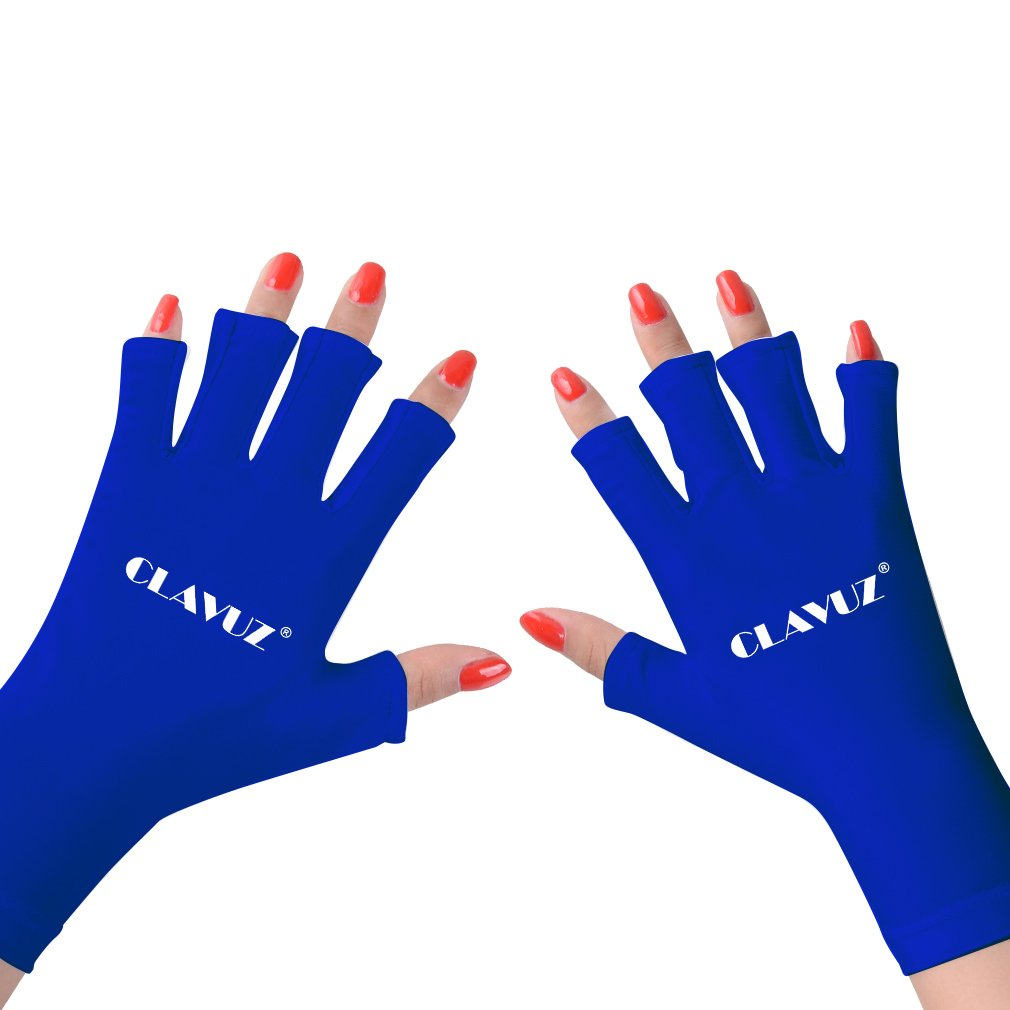 CLAVUZ Nail UV Shield Gloves Protect Hands Anti UV for Gel Manicures with UV/LED Lamps