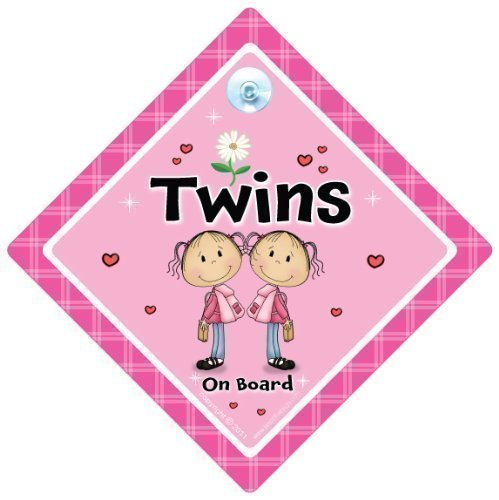 Bumper Sticker Style Twins On Board Baby on board Pink Flower Baby on Board Twins on board sign,Twins on board Car Sign Twin girls Pink Flower Car Sign