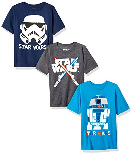 Star Wars Little Boys' 3-Pack R2d2 Stormtrooper T-Shirt, Navy Charcoal Heather Turquoise, 5