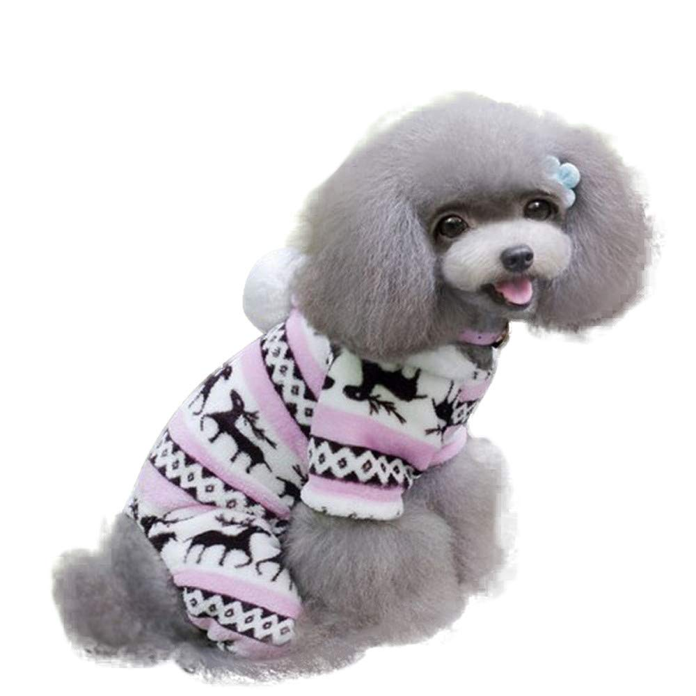 Fitfulvan Pet Dog Warm Clothes Puppy Jumpsuit Hoodie Coat Doggy (Pink,L)